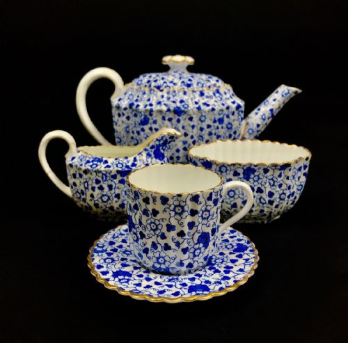 Victorian Copeland Tea Set For One / Teapot / Blue & White Flowers / Gold Trim